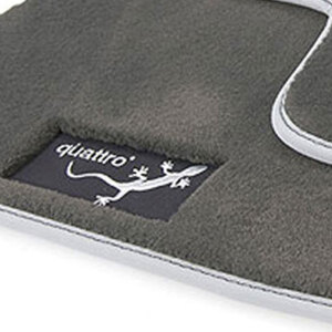 Premium textile floor mats, for the front and rear, black/silver-grey, with embroidered quattro gecko logo