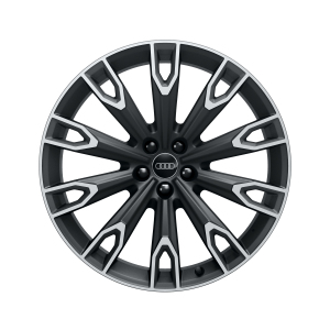 Cast aluminium wheel in 10-arm talea design, matt black, high-gloss turned finish, 9.5 J x 21