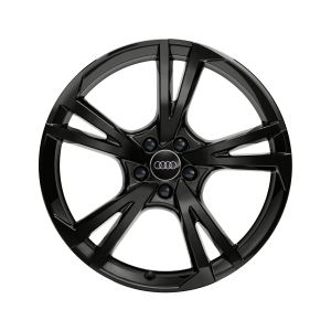 Cast aluminium wheel in 5-arm falx design, black-gloss finish, 10 J x 22