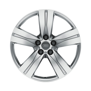 Cast aluminium winter wheel in 5-spoke design, brilliant silver, 8 J x 18