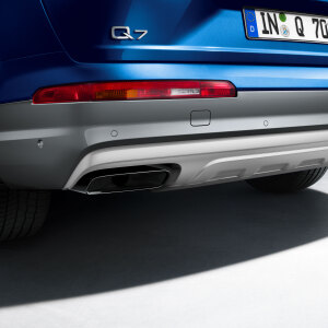 Lower section of rear bumper, stone grey, metallic for vehicles with park assist