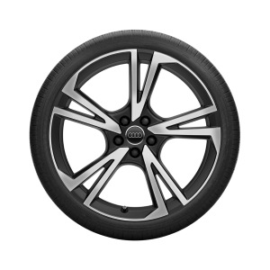 Complete summer wheel in 5-arm falx design, black, high-gloss turned finish,  10 J x 22, 285/35 R 22 106Y XL
