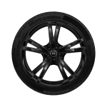 Complete winter wheel in 5-arm falx design, black-gloss finish, 10 J x 22, 285/35 R 22 106W XL