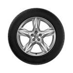 Complete winter wheel in 5-spoke star design, brilliant silver, 8 J x 19, 255/55 R 19 111H XL