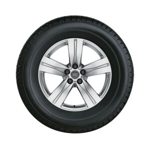 Complete winter wheel in 5-spoke design, brilliant silver, 8 J x 18, 255/60 R 18 108H, left