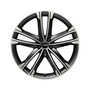 Cast aluminium wheel in 5-arm volsella design, matt black, high-gloss turned finish, 10 J x 22