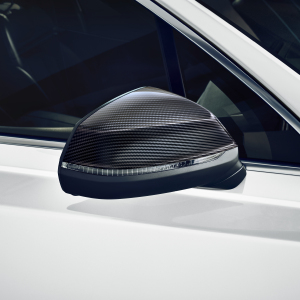 Exterior mirror housing, in carbon, for vehicles with Audi side assist, left