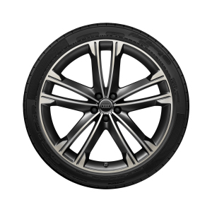 Complete summer wheel in 5-arm volsella design, matt black, high-gloss turned finish, 10 J x 22, 285/40 R 22 110Y XL