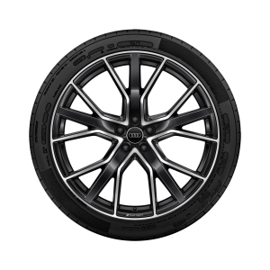 Complete summer wheel in 5-V-spoke star design with Audi Sport lettering, anthracite black, high-gloss turned finish, 10 J x 22, 285/40 R 22 110Y XL