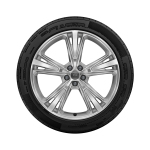 Complete winter wheel in 5-segment-spoke design, galvanic silver, metallic, 10 J x 21, 285/45 R21 113V XL