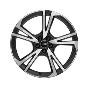 Cast aluminium wheel in 5-arm falx design, matt black, high-gloss turned finish, 9 J x 21