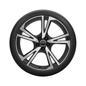 Complete summer wheel in 5-arm falx design, black, high-gloss turned finish, 9 J x 21, 275/35 ZR 21 103Y XL