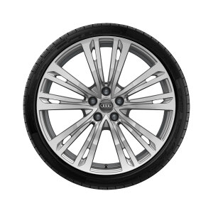 Complete winter wheel in 10-parallel-spoke design, brilliant silver, 9 J x 20, 265/40 R20 104V XL, right