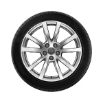 Complete winter wheel in 5-V-spoke design, brilliant silver, 8 J x 18, 235/55 R18 104H XL, left
