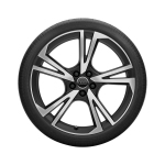 Complete summer wheel in 5-arm falx design, matt black, high-gloss turned finish, 8 J x 20, 255/45 R 20 101W