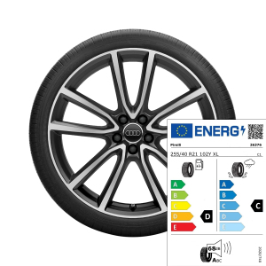 Complete summer wheel in 5-arm avius design, matt black, high-gloss turned finish, 8.5 J x 21, 255/40 R 21 102Y XL