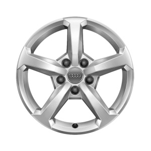 Cast aluminium winter wheel in 5-spoke design, brilliant silver, 6.5 J x 16