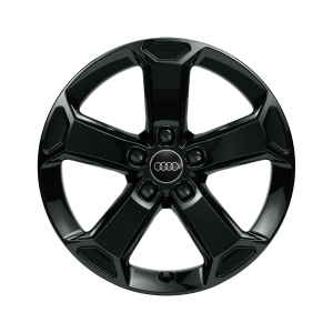 Cast aluminium winter wheel in 5-arm latus design, black-gloss finish, 7 J x 17