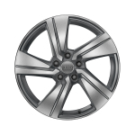 Cast aluminium wheel in 5-arm dynamic design, contrasting grey, partly polished, 7 J x 18