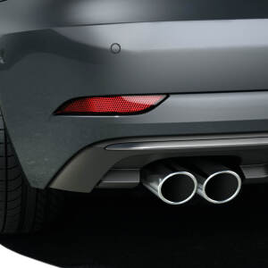 Sport tailpipe trims, chrome-finished, black, left