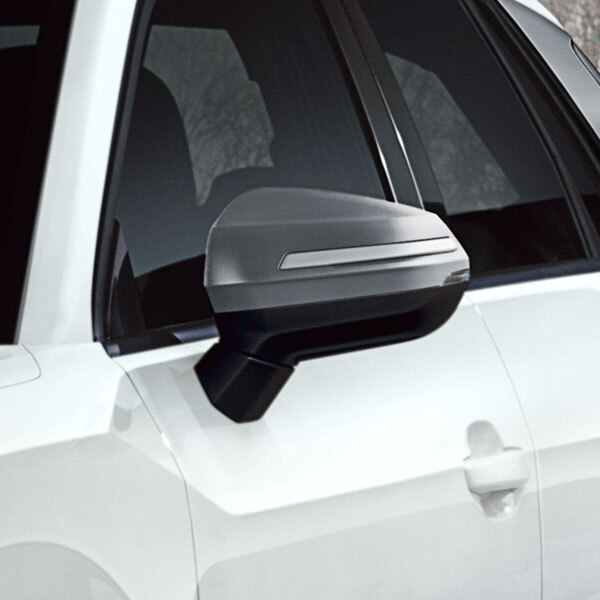 Decorative trims for the exterior mirror housings, platinum grey, with decorative inlay in selenit silver, for vehicles with Audi side assist