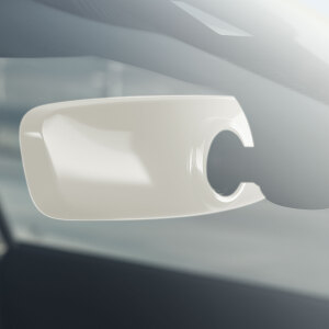 Decorative trim for the interior mirror, manual anti-dazzle, ibis white