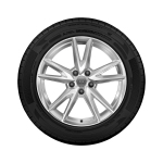 Complete summer wheel in 5-spoke Y design, brilliant silver, 7 J x 18, 215/50 R 18 92W