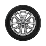 Complete winter wheel in 5-V-spoke design, galvanic silver, metallic, 8 J x 18, 235/45 R 18 94V