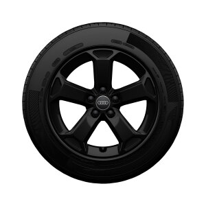 Complete winter wheel in 5-arm latus design, black-gloss finish, 7 J x 17, 215/55 R17 94V, right