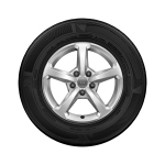 Complete winter wheel in 5-spoke design, brilliant silver, 6 J x 16, 205/60 R16 92H, left