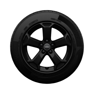 Complete winter wheel in 5-arm latus design, black-gloss finish, 7 J x 17, 215/55 R17 94V, left