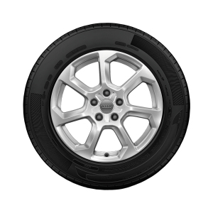 Complete winter wheel in 7-spoke design, brilliant silver, 6.5 J x 17, 215/55 R 17 94H, left