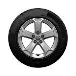 Complete winter wheel in 5-arm latus design, brilliant silver, 7 J x 17, 215/55 R17 94V, left