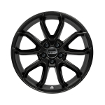 Cast aluminium wheel in 5-arm carabus design, reverse, black-gloss finish, 7.5 J x 17