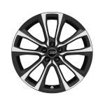 Cast aluminium wheel in 5-V-spoke pilleus design, reverse, matt black, high-gloss turned finish, 7.5 J x 18
