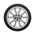 Complete summer wheel in 5-arm carabus design, reverse, brilliant silver, 7.5 J x 17, 215/45 R 17 91W XL