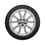 Complete winter wheel in 5-arm carabus design, reverse, brilliant silver, 7.5 J x 17, 215/45 R 17 91W XL