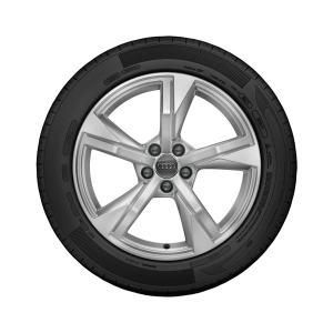Complete winter wheel in 5-arm star design, galvanic silver, metallic,  7.5 J x 17, 215/45 R 17 91W XL