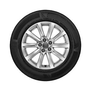 Complete winter wheel in 10-spoke design, brilliant silver, 6.5 J x 16, 195/55 R16 91V XL, right