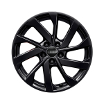 Cast aluminium wheel in 10-spoke turbine design, black-gloss finish, 6.5 J x 16
