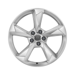 Cast aluminium winter wheel in 5-arm dynamic design, brilliant silver, 7 J x 19