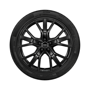 Complete winter wheel in 5-V-spoke star design, black-gloss finish, 8.5 J x 20, 255/40 R 20 101W XL