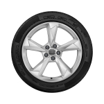 Complete winter wheel in 5-arm dynamic design, brilliant silver, 7 J x 19, 235/50 R19 99V