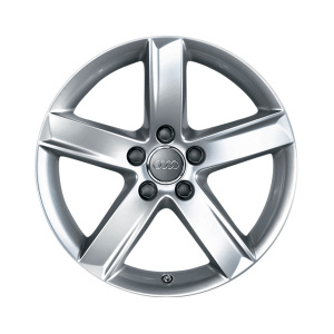 Cast aluminium winter wheel in 5-arm design, brilliant silver, 7 J x 17