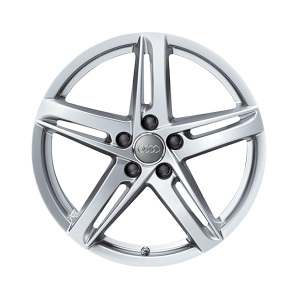 Cast aluminium wheel in 5-arm rotor design, brilliant silver, 8 J x 18