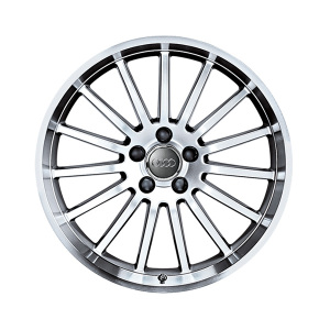 Cast aluminium wheel in 15-spoke design, anthracite-silver, rim flange high-gloss turned finish, 8 J x 18
