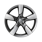 Cast aluminium wheel in 5-arm hollow-spoke design, anthracite, high-gloss turned finish, 8.5 J x 19