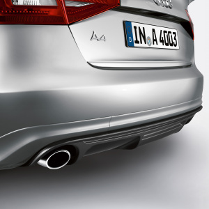 Rear diffuser with blade, for vehicles with single tailpipe on the left and right, primed