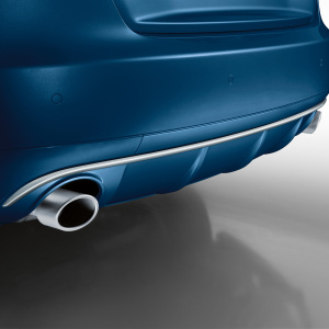 Sport tailpipe trims, for vehicles with single tailpipe on the left and right, in an aluminium look, matt