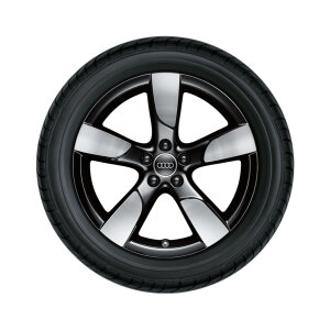 Complete summer wheel in durable design, black, high-gloss turned finish, 8.5 J x 19, 255/35 R 19 96Y XL